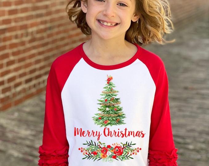 Girl Christmas Shirt Red Merry Christmas Watercolor Floral Wreath Christmas Trees Red Ruffle Raglan Unisex Pine Trees Christmas Tree Winter