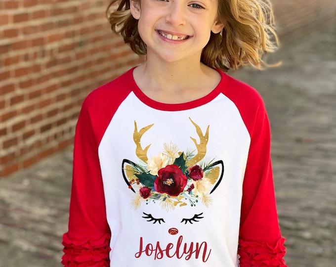 Girl Unicorn Christmas Shirt Green Gold Glitter Reindeer Rose Watercolor Floral Personalized Christmas Red Ruffle Raglan Dark Flowers