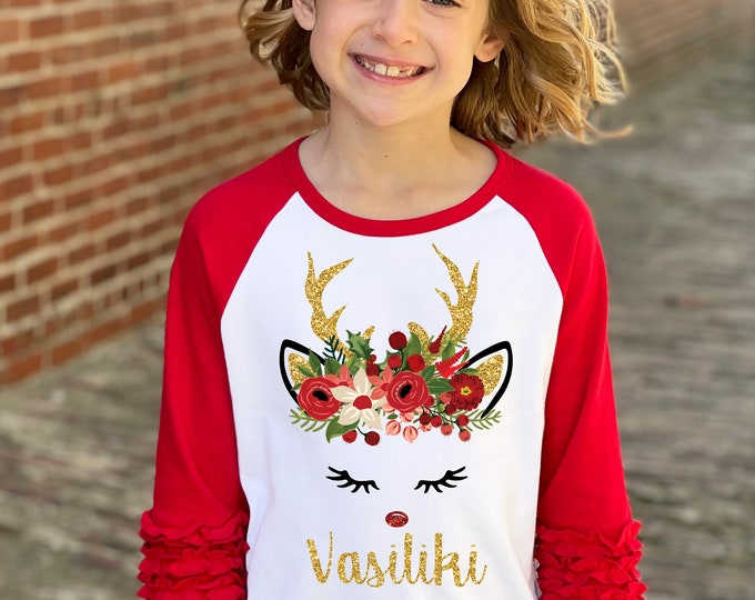 Girl Reindeer Christmas Shirt Gold Glitter Reindeer Red Watercolor Floral Personalized Christmas Red Ruffle Raglan Holly Berries Holiday