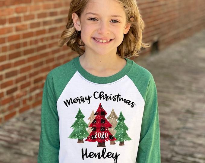 Girl Merry Christmas 2020 Shirt Red Plaid Snowy Christmas Trees Heather Green Raglan Unisex Green Christmas Tree Shirt Winter Snowflakes