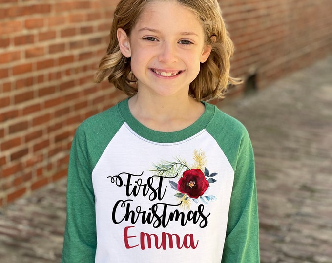 Girl First Christmas Raglan Gold Dark Rose Watercolor Floral Personalized Christmas Heather Green Raglan Dark Watercolor Christmas Shirt