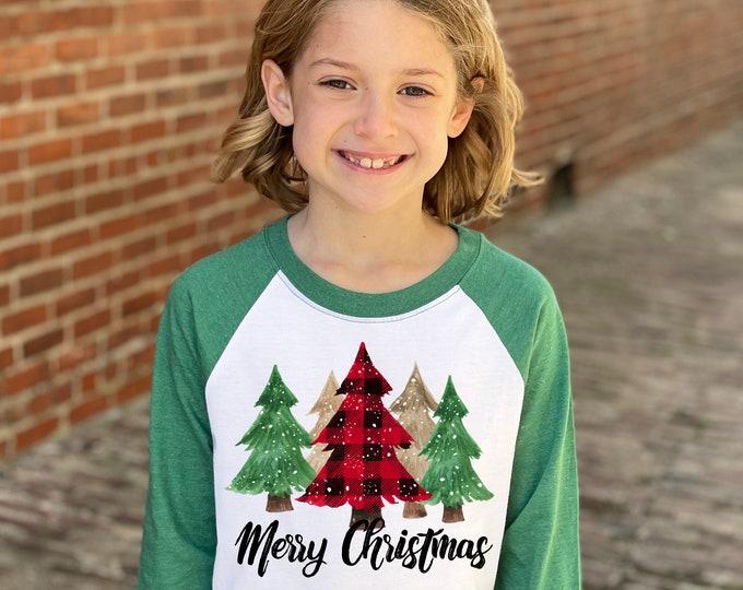 Girl Merry Christmas Shirt Red Plaid Snowy Christmas Trees Heather Green Raglan Unisex Green Christmas Tree Shirt Winter Holiday Snowflake