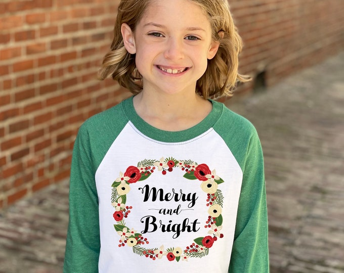 Girl Christmas Shirt Merry And Bright Red Green Watercolor Floral Wreath Christmas Heather Green Raglan Holly Berries Winter Girl Holiday