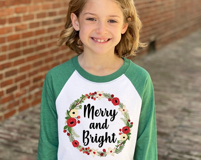 Girl Christmas Shirt Merry And Bright Red Green Watercolor Floral Wreath Christmas Heather Green Raglan Holly Berries Winter Holiday Shirt