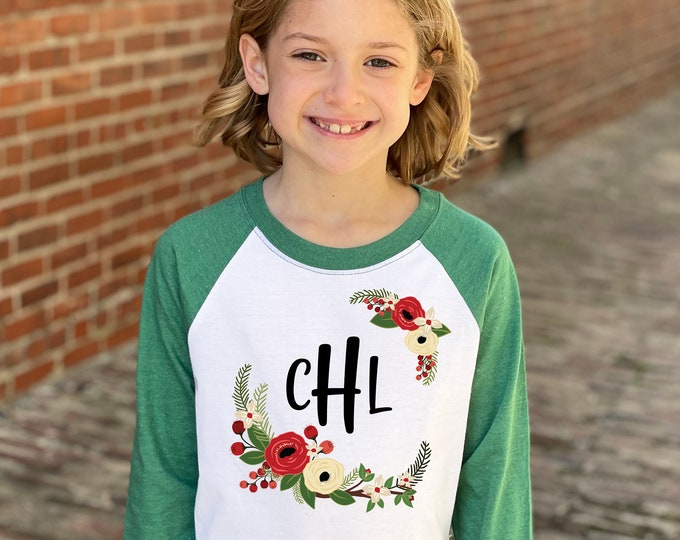 Girl Personalized Christmas Shirt Green Red Watercolor Floral Personalized Monogram Initial Christmas Heather Green Raglan Holly Berries
