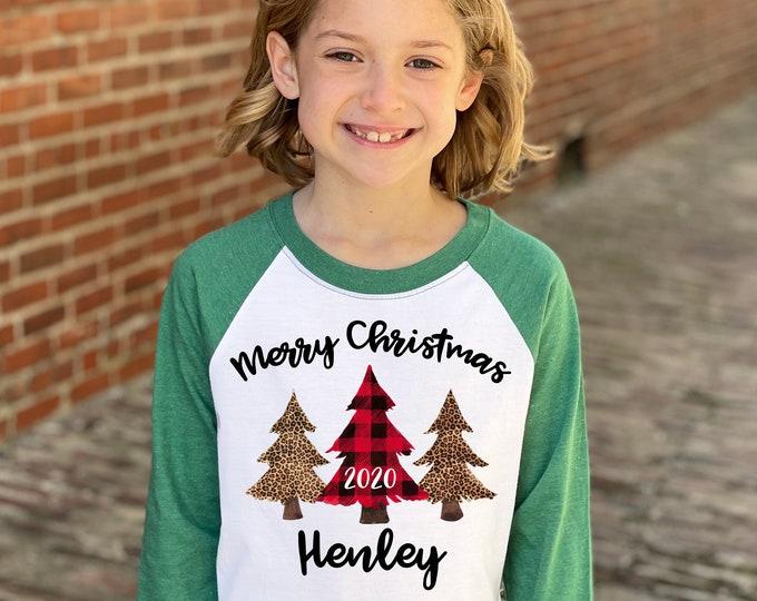 Girl Merry Christmas Shirt Christmas Red Plaid Leopard Print Christmas Trees Heather Green Raglan Unisex Christmas Tree Holiday Shirt Winter