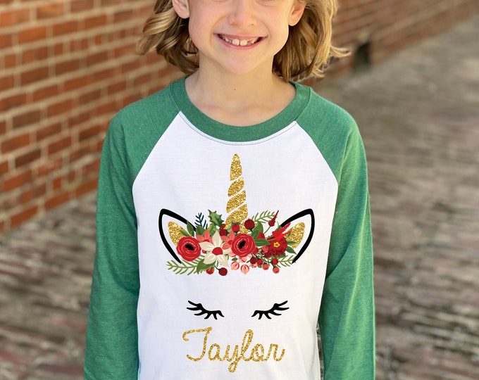 Girl Unicorn Christmas Shirt Gold Glitter Unicorn Red Watercolor Floral Personalized Christmas Heather Green Raglan Christmas Holly Berries