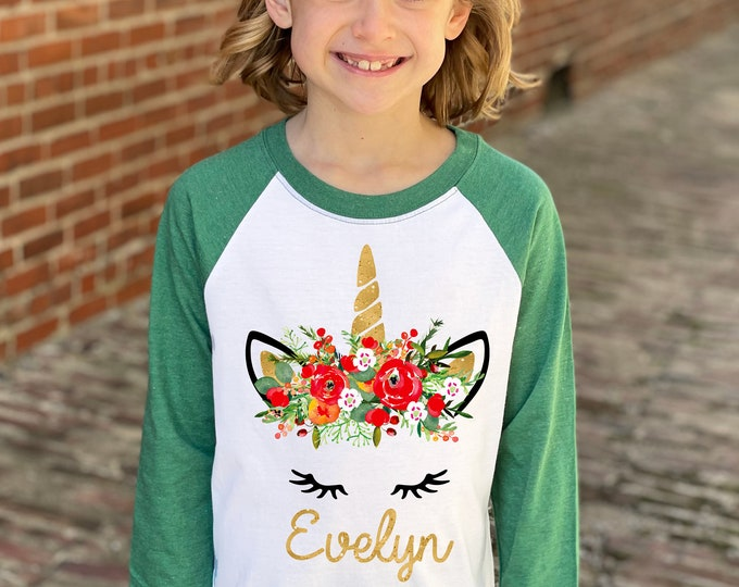 Girl Christmas Unicorn Shirt Gold Glitter Unicorn Red Watercolor Floral Personalized Christmas Heather Green Raglan Holiday Unicorn Floral