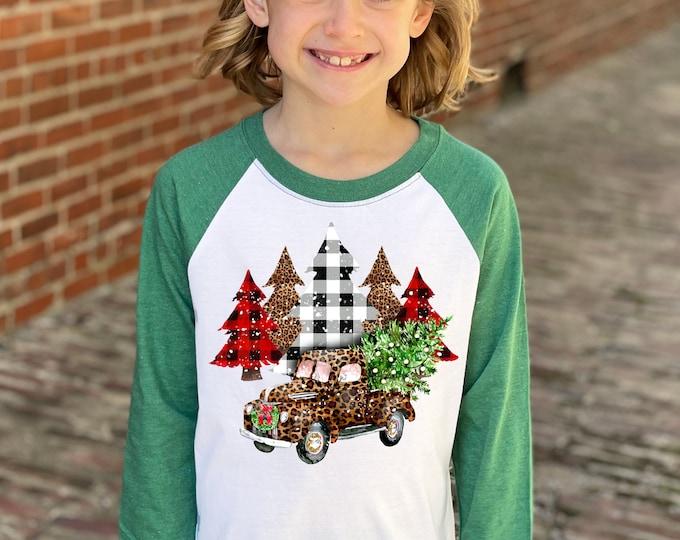 Girl Christmas Shirt Plaid Leopard Truck Heather Green Raglan Personalized Raglan Unisex Christmas Winter Vintage Truck Plaid Holiday Xmas