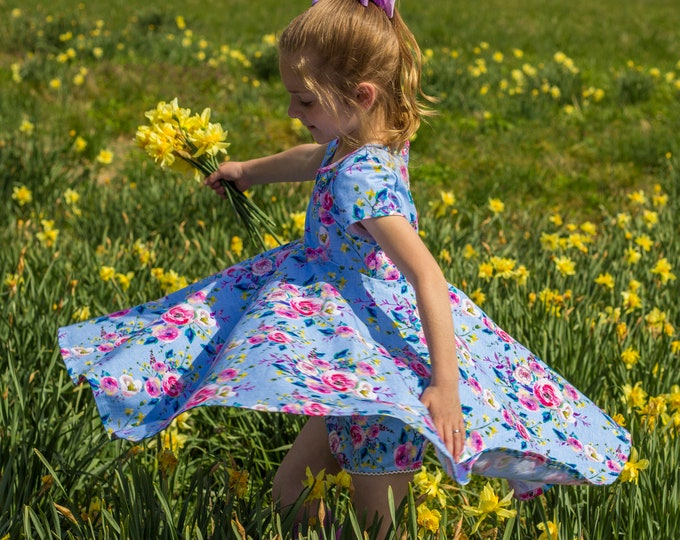 Blue Summer Twirly Dress Watercolor Floral Spring Easter Dress Toddler Dress Girl Dress Blue Pink Yellow Twirl Dress Short Sleeve Knit Dress