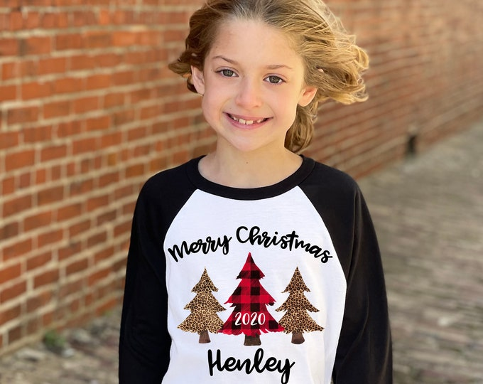 Girl Merry Christmas 2020 Red Plaid Leopard Christmas Trees Personalized Red Black Personalized Raglan Unisex Christmas Winter Girl Shirt