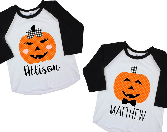 Pumpkin Brother and Sister Shirts Jack-o-Lantern Shirts Personalized Halloween Shirts Gingham Plaid Bowtie Name Boy Girl