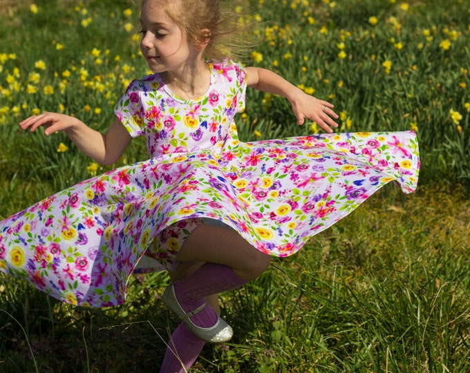 Pink Summer Twirly Dress Watercolor Floral Spring Easter Dress Toddler Dress Girl Dress Pink Purple Yellow Twirl Dress Short Sleeve Knit