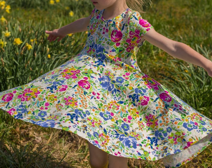 Wild Flower Summer Twirly Dress Flowers Floral Spring Easter Dress Toddler Dress Girl Ivory Floral Mustard Twirl Dress Short Sleeve Knit
