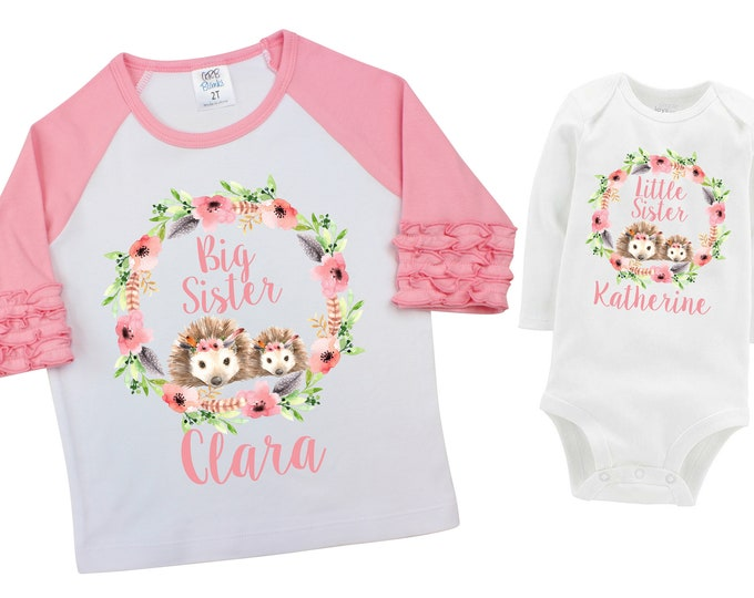 Big Sister Little Sister Matching Shirts Hedgehogs Watercolor Floral Sister Ruffle Raglan Shirt Bodysuit Flutter Sleeve Girl Shirt Flowers