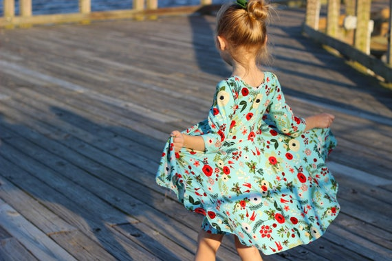 Winter Dress Vintage Blue Christmas Floral Twirl Dress Twirly Winter Dress Winter Berries Dress Holly Dress Christmas Flowers Red