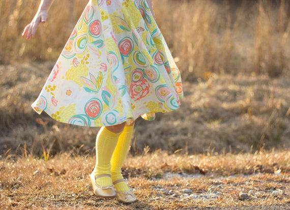 Banana Yellow Knee High Socks Hand Dyed Yellow Toddler Knee High Socks Baby Children's Girl's Socks Spring Uniform Dyed Pink Spring Sock