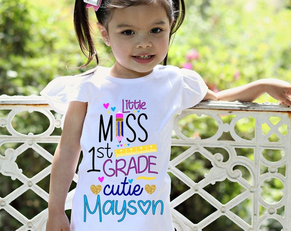 Personalized 1st Grade Cutie Shirt Flutter Sleeve First Grade First Day of School Black Raglan School Shirt Pencil Ruler Shirt Girl