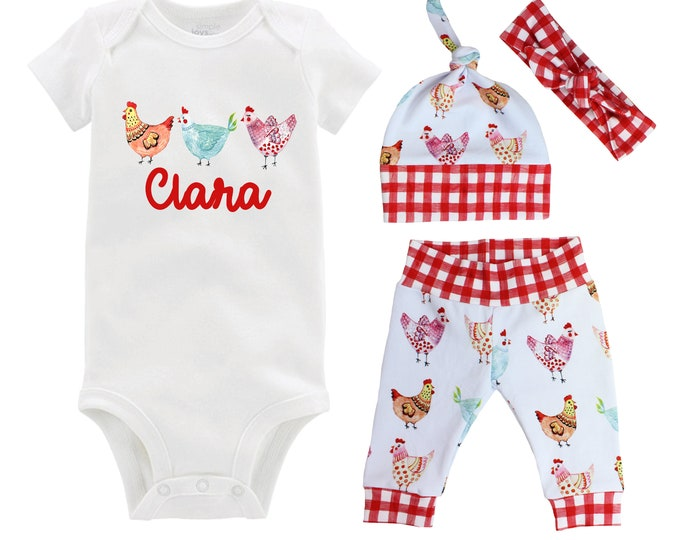 Baby Girl Personalized Outfit Chicken Farm Baby Outfit Going Home Personalized Yoga Leggings Knot Hat Headband MaMa's MiMi's Nana's