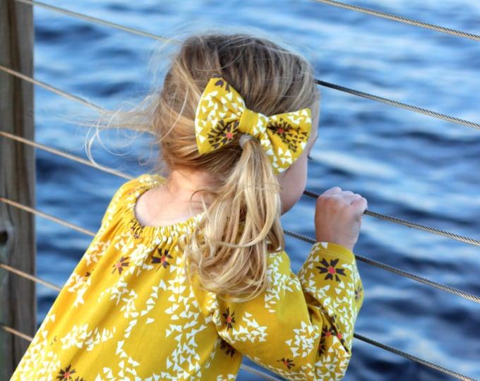Mustard Floral Hair Bow Clip Floral Baby Hair Bow Clip  Mustard Floral Toddler Hair Bow Clip Mustard Floral Hair Clip Bow Fall Hair Bow Clip