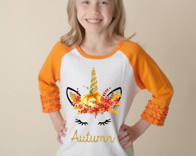 Fall Pumpkin Unicorn Face Orange Ruffle Raglan Shirt Personalized Flutter Sleeve Fall Floral Girl Shirt Watercolor Floral Orange Flowers