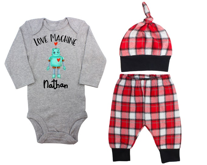 Baby Boy Valentine's Day Robot Love Machine Personalized Outfit Boy Valentines Day Bodysuit Buffalo Plaid Flannel Pants Knot Hat