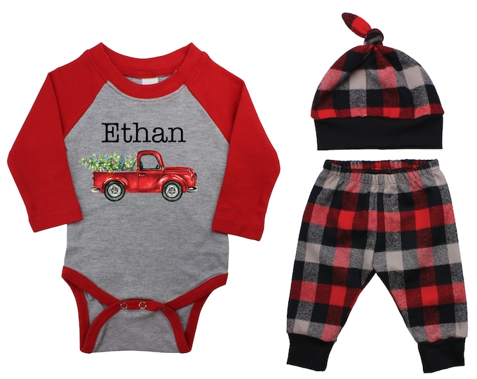 Christmas Forest Red Truck Personalized Outfit Winter Boy Raglan Outfit Red Christmas Tree Plaid Pants Knot Hat Red Gray Baby Raglan