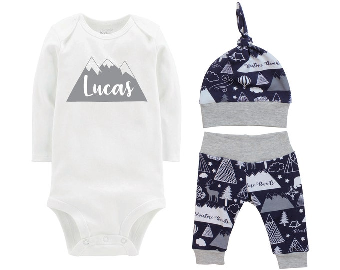 Personalized Boy Going Home Set Mountain Navy Gray Onesie Bodysuit Adventure Infant Gift Set Monogram Boy Coming Home Outfit Mountains Tent