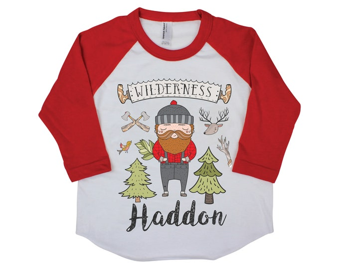 Lumberjack Personalized Raglan Buffalo Plaid Boy Shirt Lumberjack Party Birthday Shirt Name Shirt Toddler Youth Baby Shirt Wilderness