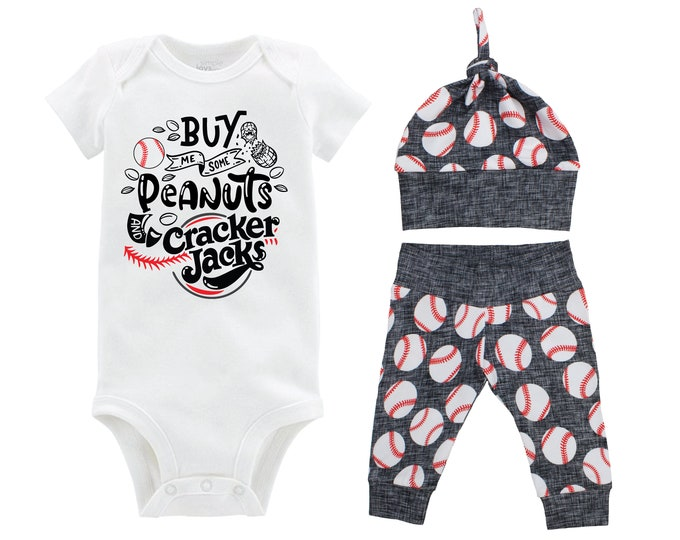 Boy Baseball Going Home Outfit Peanuts and Cracker Jacks Baby Coming Home Outfit Yoga Pants Black Gray Baseball Boy Knot Hat Baby Gift