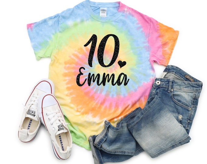 Birthday Girl Tie Dye Personalized Shirt Bright Black Glitter Vinyl Heart Birthday Girl Shirt Birthday Party Shirt Girl Tie Dye Year Age