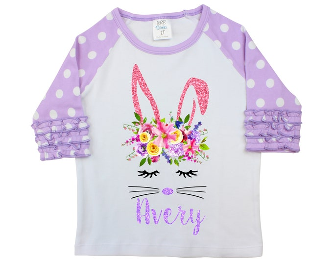 Girl Bunny Face Easter Shirt Watercolor Floral Personalized Ruffle Raglan Easter Shirt Bodysuit Flutter Sleeve Girl Shirt Monogram Flowers