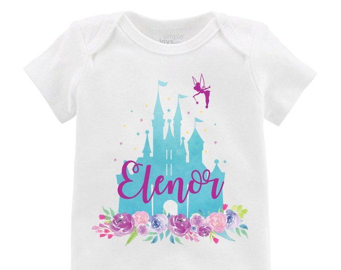Aqua Cinderella Castle Floral Bodysuit Personalized  Tinker Bell Flutter Sleeve Raglan Birthday Shirt Girl Shirt Monogram Flowers Pink