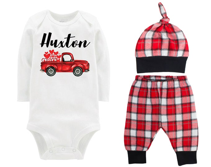 Baby Boy Valentine's Day 2021 Truck Personalized Outfit Boy Valentines Day Bodysuit Hearts Vintage Truck Buffalo Plaid Flannel Pants