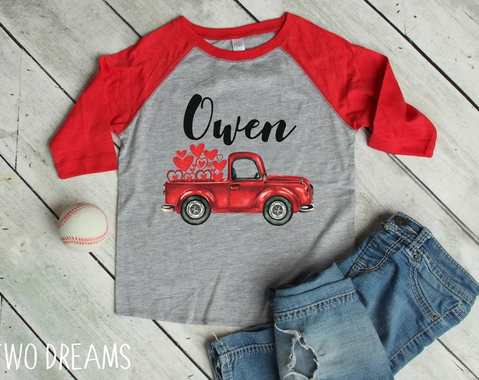 Boy Valentine's Day Shirt Vintage Red Truck Personalized Red Gray Raglan Old Red Truck Name Shirt Boy Toddler Baby Youth Shirt
