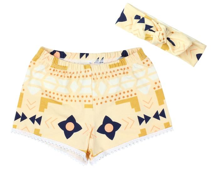 Girls Shorts Baby Shorts Lace Trimmed Shorts Baby Headband Tan Blue White Tribal Print Child American Made Handmade Girl Baby Clothing