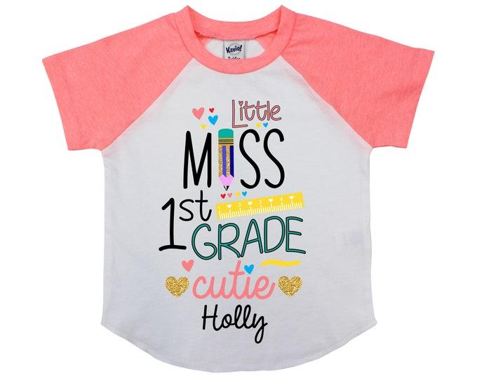 Little Miss 1st Grade Cutie Personalized First Grade Back to School Shirt Girl Back to School Pencil Shirt Name Shirt Raglan