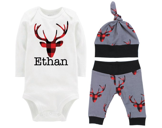 Personalized Boy Going Home Set Deer Red Black Buffalo Plaid Gray Onesie Bodysuit Infant Gift Set Monogram Boy Coming Home Outfit Buck Deer