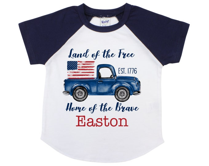 Boy 4th of July Truck Shirt American Flag Personalized Old Blue Truck Fourth of July Land of the Free Home of the Brave 1776 Monogram