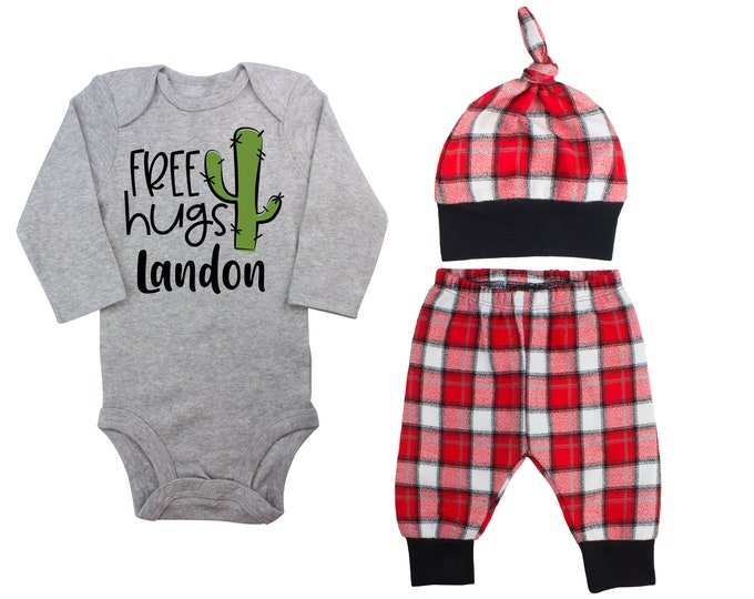 Baby Boy Valentine's Day Free Hugs Cactus Personalized Baby Outfit Boy Valentines Day Bodysuit Baby Boy Buffalo Plaid Flannel Pants