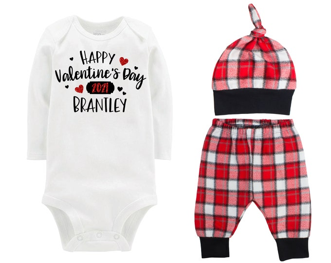 Happy Valentine's Day 2021 Red Glitter Vinyl Personalize Outfit Boy Valentines Day Bodysuit Hearts Buffalo Plaid Flannel Pants