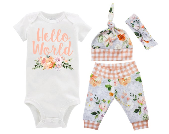Girl Hello World Floral Going Home Outfit Newborn Baby Infant Set Wedding Floral Yoga Leggings Top Knot Hat Headband Infertility