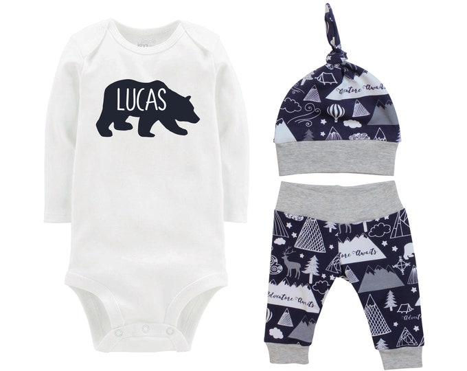 Personalized Boy Going Home Set Bear Navy Gray Bodysuit Adventure Infant Gift Set Monogram Boy Coming Home Outfit Mountains Tent