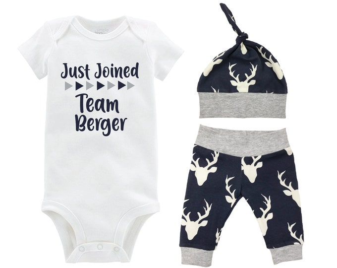 Boy Just Joined Team Last Name Personalized Coming Home Outfit Gray Navy Deer Bodysuit Infant Gift Going Home Set Baby Shower Gift