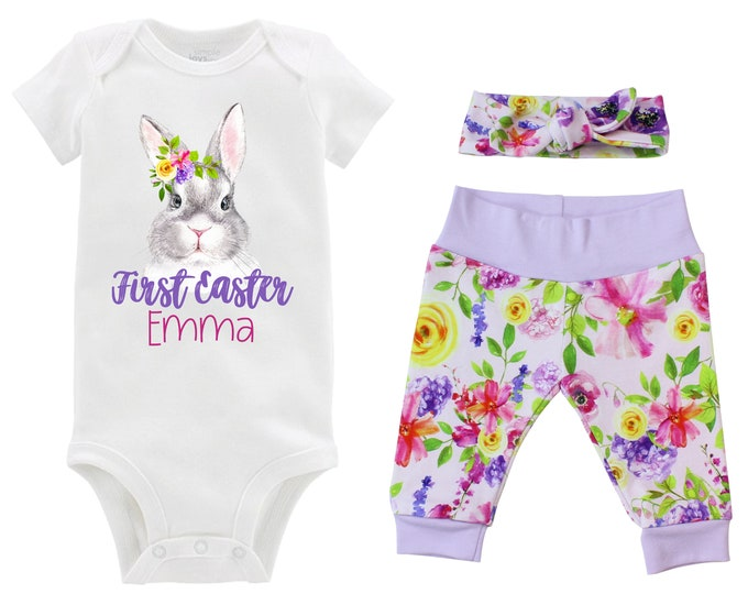 Girl First Easter Outfit Personalized Baby Bunny Floral Bunny Easter Pink Purple Watercolor Floral Yoga Pants Knot Headband Knot Hat Girly