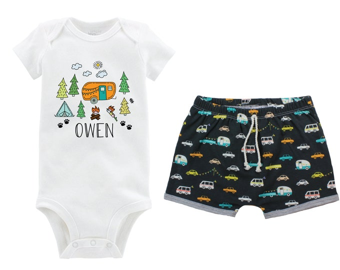 Boy Camping Trip Personalized Outfit Baby Toddler Camper Shorts Tent Campfire Trees Campers Cars First Camping Trip Fun Camping Bodysuit