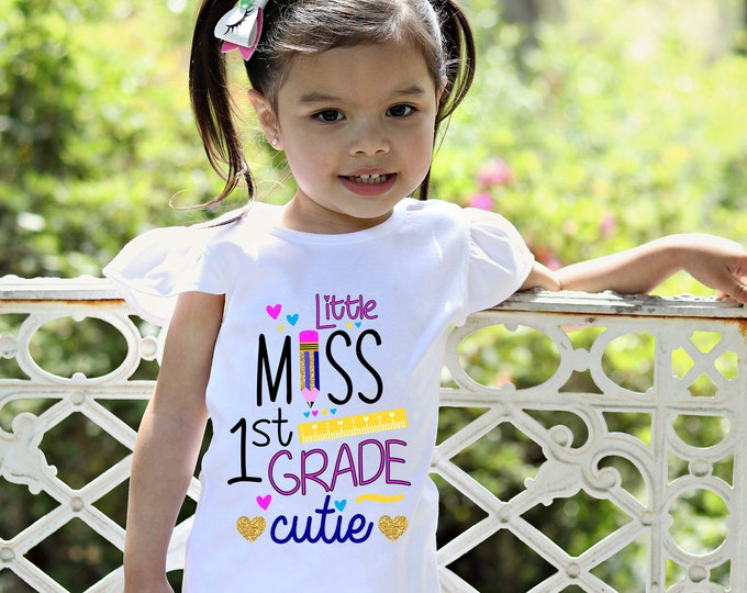 1st Grade Cutie Shirt Flutter Sleeve First Grade First Day of School Black Raglan 1st Grader School Shirt Pencil Ruler Shirt Girl School