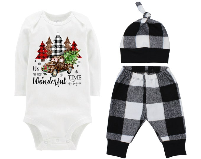 Girl Most Wonderful Time Of The Year Leopard Truck Plaid Christmas Tree Outfit Christmas White Black Buffalo Plaid Flannel Infant Winter
