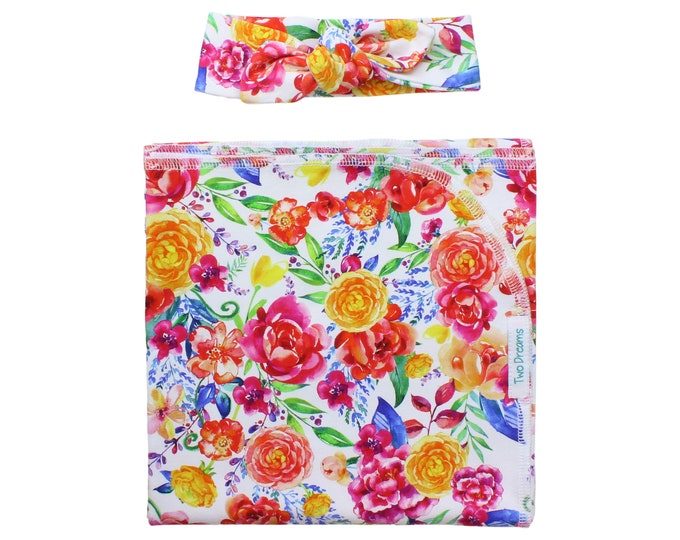 Wild Flower Newborn Swaddle Set Blanket Watercolor Summer Floral Headband Jersey Knit Swaddle Baby Blanket Infant Gift Set Baby Shower