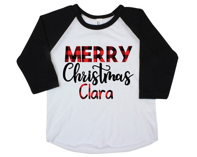 Merry Christmas Shirt Boy Personalized Buffalo Plaid Christmas Shirt Girl Christmas Shirt Unisex Christmas Shirt Black Raglan Red Raglan